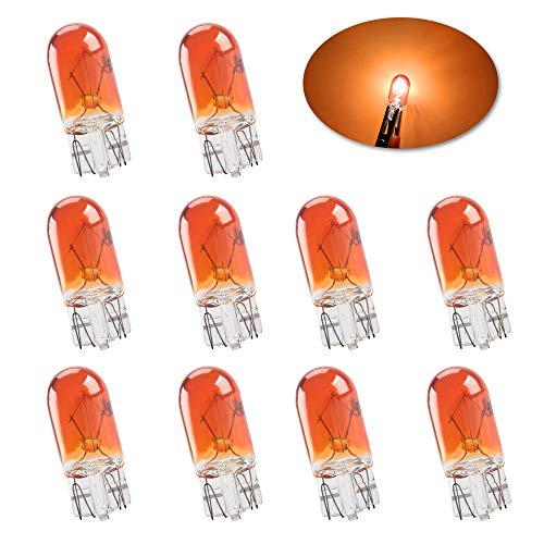 Miniatura estándar T10 W5W Bombillas halógenas ámbar brillante 194 168 501 Luces de circulación diurna Fabricante lateral Luz del tablero de instrumentos Cola de freno Bombillas antiniebla-10PCS
