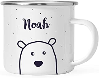 Andaz Press Personalized 11oz. Christmas Hot Chocolate Stainless Steel Campfire Coffee Mug Gift, Polar Bear, 1-Pack, Custom Name Enamel Metal Camp Cup for Him Her, Includes Gift Box