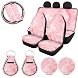 HUIACONG Pink Marble Car Seat Covers for Women Girly...