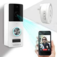 Wireless Video Doorbell, YIROKA Doorbell Camera, IP55 Waterproof HD 720P Security Camera Real-Time Video Work 3600 Hour Battery PIR Motion Detection 3000+ Video Storage, Night Light