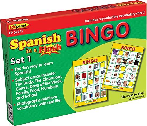 Edupress Spanish in a Flash Bingo Game Set 1 (EP62345)