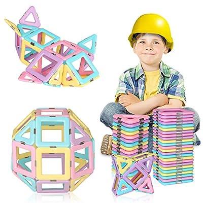 RegeMoudal 40PCS Magnetic Blocks, Magnetic Tiles Building Blocks Set for Kids Educational Toys Tiles Set 3D Castle Toysk, for 2 -7 Year Old Birthday Present