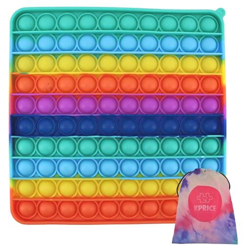 KPRICE Pop IT GEANT XXL Carre - 20 Cm - Pop-It 100 Bulles - Jouets Fantaisie et Gadgets - Multicolore - popit Fidget Toys - Poppit - Inclus Trousse Transport (Carre XXL)