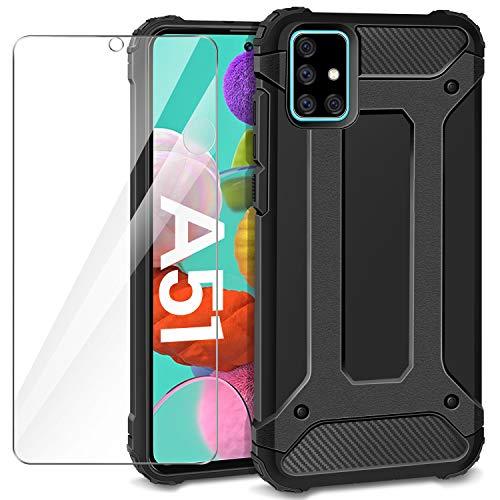 AROYI Samsung Galaxy A51 Hülle + Panzerglas, Samsung Galaxy A51 Case Outdoor Handyhülle Tough Silikon TPU + PC Bumper Doppelschichter Schutz Schutzhülle für Samsung Galaxy A51 Schwarz