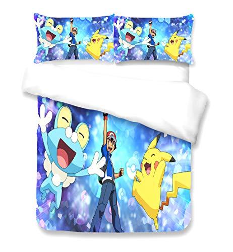 JYHTK Juego de Funda Nórdica de Ropa de Cama de Pokemon 3D, 3 Piezas, Funda Nórdica de Microfibra con Funda de Almohada, Funda Nordica King Size, Cama 135(220 * 230cm + 2 × 50 * 75cm)