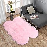 Carvapet Luxuriöser weicher Kunstfell-Stuhlbezug, Sitzkissen, Plüsch, für Schlafzimmer, 60 x 90 cm 3x5 ft Sheepskin babyrosa