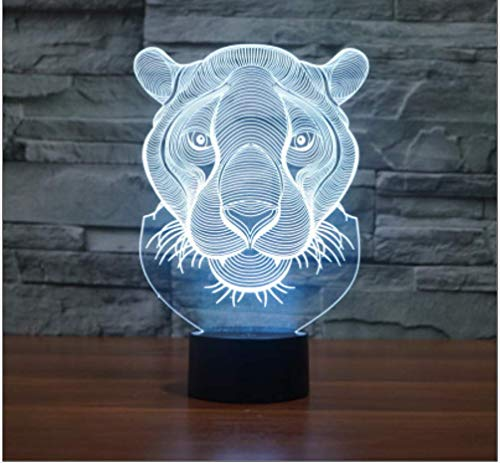 Novelty 3D Tiger Animal Night Light Illusion Lamp 7 Color Change LED Touch USB Table Gift Kids Toys Decor Decorations Christmas Valentines Gift