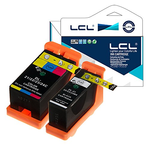 LCL Cartucho de Tinta Compatible 21 Y498D Y499D Reemplazo para DELL V313 V313W V515W P513W P713W V715W (1Negro,1Color)