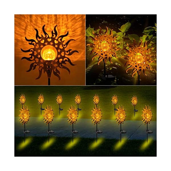 LANNIU Solar Lights Outdoor Garden, Metal Waterproof Solar Lights 2 Modes Sun Decorative Stakes for Landscape,Garden…