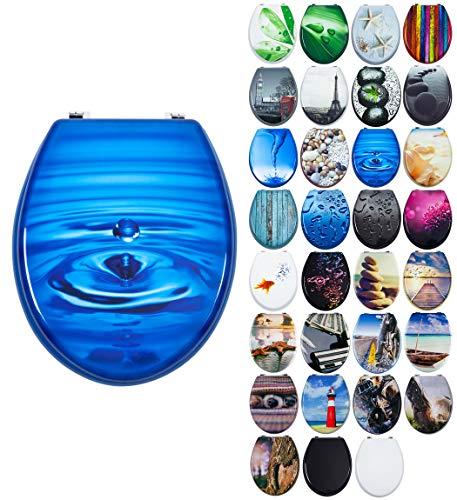 Grafner MDF WC Sitz mit Absenkautomatik viele schöne Motive zur Auswahl - stabile Qualität - einfache Montage WC Deckel Klobrille Softclose (Blue Drop)