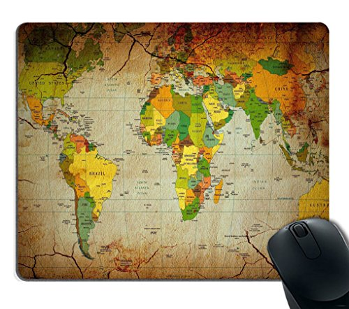 Smooffly Gaming Mouse Pad Custom,World Map Mousepad Mouse Pad Mat Non-Slip Thick Rubber Large Mousepad