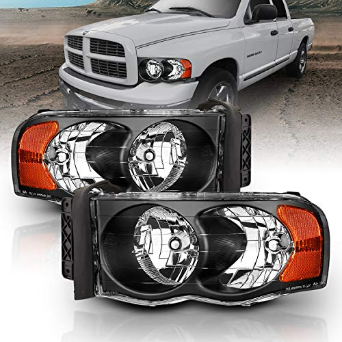 AmeriLite Black Replacement Headlights Set for 02-05 Dodge RAM 1500 2500 3500 Truck - Passenger and Driver Side