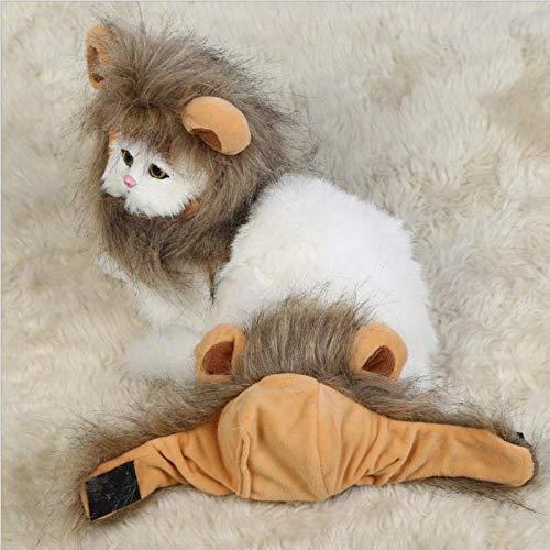 FORHOME Grappige Leuke Huisdier Kat Kostuum Leeuw Mane Pruik Hoed voor Hond Halloween Kerst Kleding Fancy Jurk met Oren Huisdier Kleding