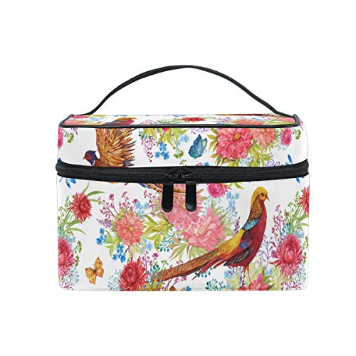 HaJie Large Capacity Makeup Bag Organiser Birds Floral Butterfly Dragonfly Travel Portable Cosmetic Case Toiletry Storage Bag Wash Bag for Women Girls