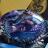 Lava Dragon Egg Ornaments, Crystal Transparent Resin Dragon Egg,Handmade Sculpture Fire Pocket Dragon Souvenir for Desktop Ornaments Exquisite Unique Gift(Purple)