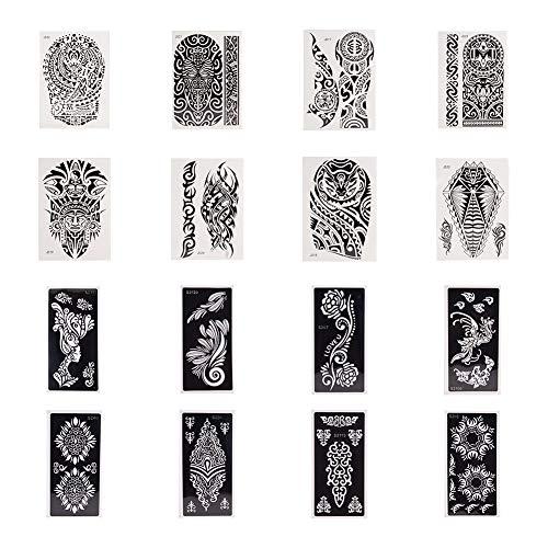 PandaHall Elite Pack mit 16 Blatt Selbstklebende Henna-Tattoo-Schablonen Vorlage für Henna Tattoo Body Art Malerei Glitzer-Tattoos Airbrush Tattoo