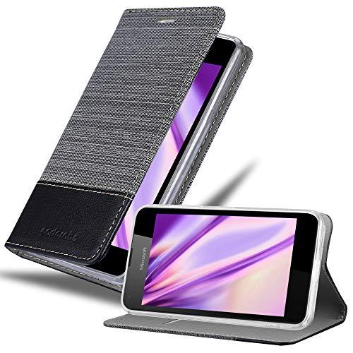 Cadorabo Hülle für Nokia Lumia 550 - Hülle in GRAU SCHWARZ – Handyhülle mit Standfunktion und Kartenfach im Stoff Design - Case Cover Schutzhülle Etui Tasche Book