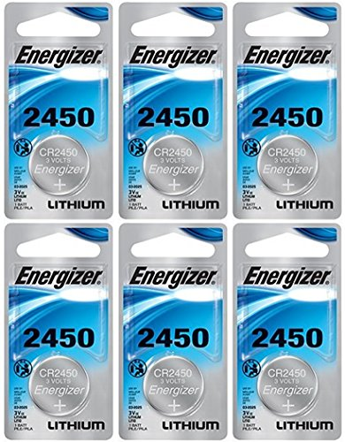 Energizer CR2450 Lithium Battery, 3v ECR2450, Qty 6