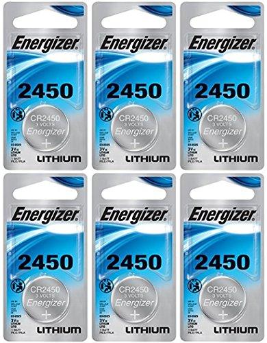 Energizer CR2450 Lithium Battery, 3v ECR2450, Qty 6