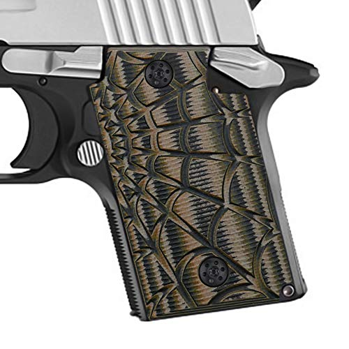 Cool Hand Grips for Sig Sauer P938, Spider Web Texture,Coyote Color G10,H4-W-24