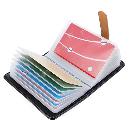 10 Farben Kreditkartenetui Damen Herren Kartenetui Leder - 26 Karten (Schwarz#2)