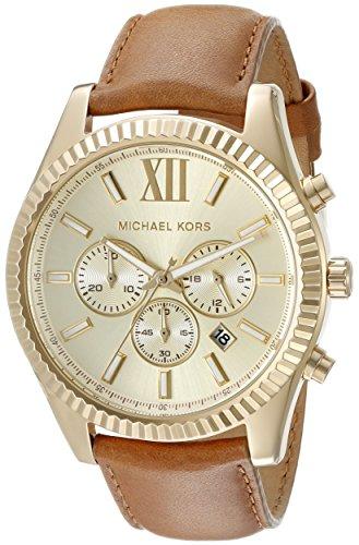 Michael Kors Men's Lexington MK8447 Gold Leather Quartz Fashion Watch