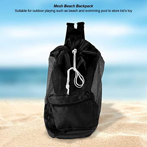 Omabeta Mochila de Playa de Malla Bolsa de Almacenamiento de Playa Artículo de Piscina(Black)