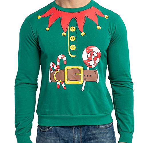 JOYIN, Maglione da Elfo di Babbo Natale, da Uomo, per Natale, Vacanze, Costume o Regalo di Compleanno - Multicolore - L