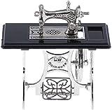 DIVISTAR 1:12 Dollhouse Accesorios Máquina de coser de metal con mesa de trabajo, Modelo realista Miniatura Artesanía Coleccionables
