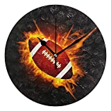 SENNSEE Horloge murale ronde en acrylique avec ballon de rugby Noir