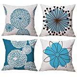Gspirit 4 Pack Flor Sencillo Estilo Algodón Lino Throw Pillow Case Funda de Almohada para Cojín 45x45 cm