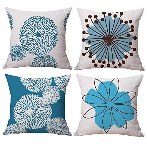 Gspirit 4 Pack Flor Sencillo Estilo Algodón Lino Throw Pillow Case Funda de Almohada para Cojín 45x45 cm