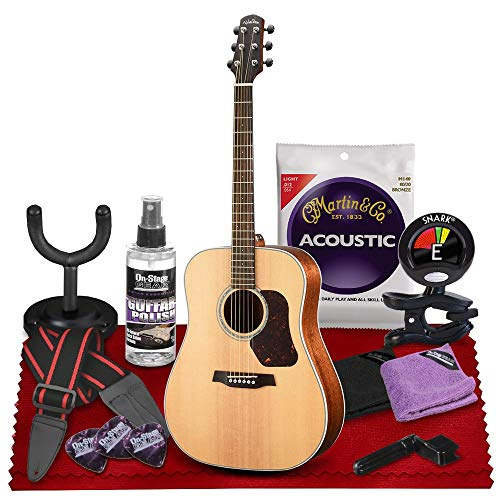 Walden D740E Natura All-Solid Sitka & Mahogany Dreadnought Acoustic-Electric Guitar (Satin Natural) with Gig Bag, Strap, Strings, Tuner and More Perfect for Musicians