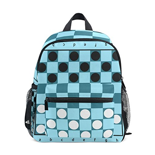 TIZORAX Checkers Game Blue Board Lightweight Travel School Backpack for Boys Girls Kids