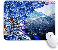 VAMIX マウスパッド 個性的 おしゃれ 柔軟 かわいい ゴム製裏面 ゲーミングマウスパッド PC ノートパソコン オフィス用 デスクマット 滑り止め 耐久性が良い おもしろいパターン (ファンタジークジャククジャク羽動物マウンテンマジックスターライトロマンチックドリームモダンファッション)
