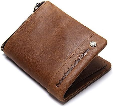 Contacten Heren Retro Echte Koe Lederen RFID Blokkeren Credit Card Houder Rits portemonnee portemonnee