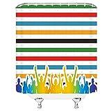 Kjhds Rayas de Color Cortinas de Ducha Simple Elegante Multitud de vítores Colores del Arco Iris Decoración de baño Juego de Cortina de Tela Impermeable 180x180cm-70x70inch G6175