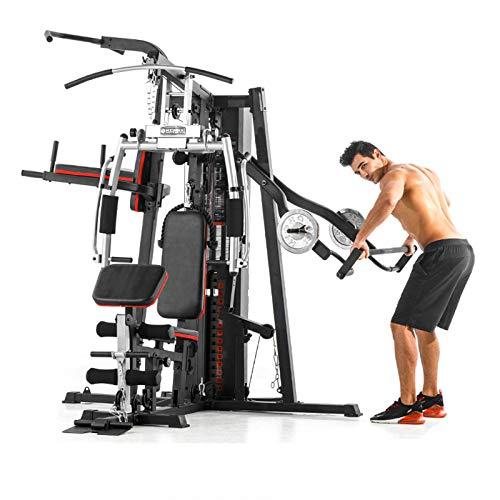 EIU Multifunktionale Heimgymnastikstation Fitness-Körperübung 30+ Sportfunktionen, Verstellbarer Sitz Einzelne Parallelstangen (250 Kg Schwarz)