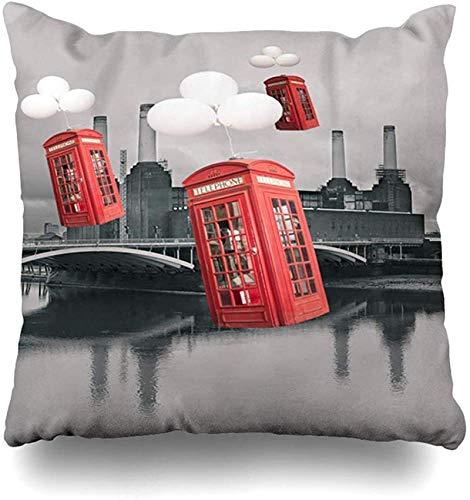Throw Pillow Cover Phone English Red Phone Booths Flying Old London Parks Box Europa City Diseño clásico Funda de Almohada para el hogar Famoso Funda de Almohada Decorada con cuadr16x16pulgada