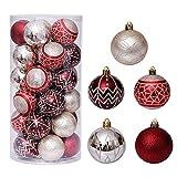 YYLI 30 Piezas Bolas De Navidad, Diámetro 6CM Paquete Regalo Bolas Navidad Pintadas, Juego De Bolas Navideñas Pintadas Oro Rojo, Decoración Navidad Plástico para Boda Fiesta Vacaciones