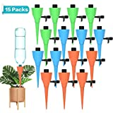 Motansun Plant Watering Spikes,15Pcs Universal Self Watering Spikes with Slow Release Control Valve,Automatic Vacation Drip Irrigation Watering Devices Plant Waterer for Outdoor Indoor Plants