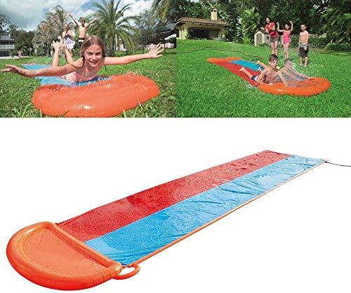 MAQRLT Doppel Wasser-Ski-Tuch, Rasen Wasserrutschen im Freien Surfen aufblasbares Spielzeug Wasser-Ski-Seil Schwimmend eingebaute Wassergerätes Spray, Garten Rasen im Freien