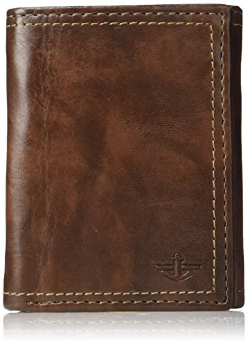 Dockers Men's Extra Capacity Trifold Wallet, Brown Emboss, One Size
