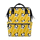 Yellow Polka Dot Panda School Backpack Bookbag Travel Shoulder Stylish Large Capacity Diaper Bags