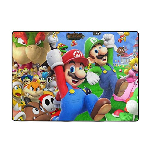 Super Mario Bros Cartoon Super Soft Area Carpet Kids Living Room Boys Girls Room Area Rug Nursery Home Decor Carpet 84 X 60 Inches