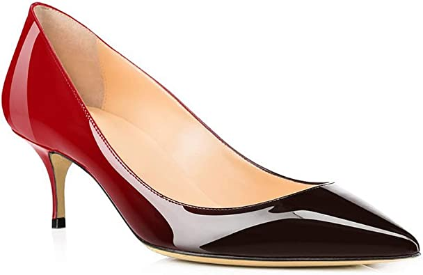 Womens Fashion Patent Leather Pointy Toe Block Heel Pull On Low Top Shoes Size