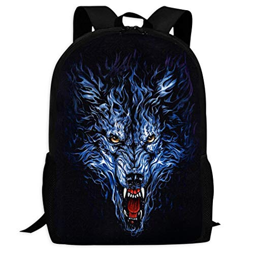 Therwd Childrens Adult Outdoor Sports School Backpack,Cool 3D Print Wolf,Book Bags Shoulder Bag