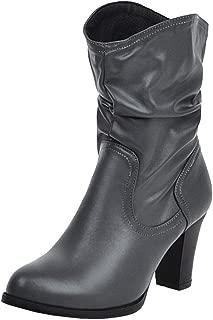 MisaKinsa Women Classic Cowboy Boots Chunky Heels