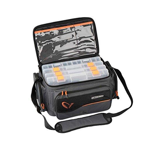Savage Gear System Box Bag S (15x36x23cm) - Angeltasche inkl. 3 Angelboxen & Ziplock Bags, Anglertasche, Ködertasche, Tasche für Kunstköder, Spinntasche, Köderboxen