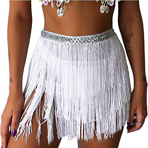 Women Sequin Belly Costume Tassel Wrap Skirt Club Mini Skirt